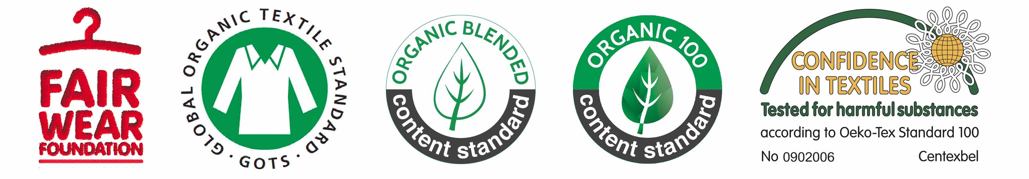 Logos de Fear Wear Foundation, GOTS, OCS Blinded, OCS100 et Confidence in textiles